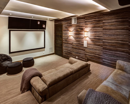 Large Modern Enclosed Home Theatre In Salt Lake City With Brown Walls, A  Projector Screen