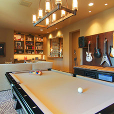 Eclectic Home Theater by Rice Residential Design