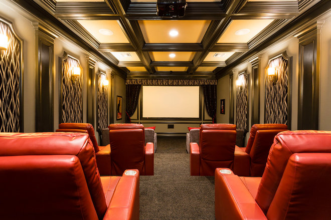 Traditional Home Theater by Harry Lim Photography