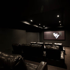 Modern Home Theater by Element Design Build Inc.