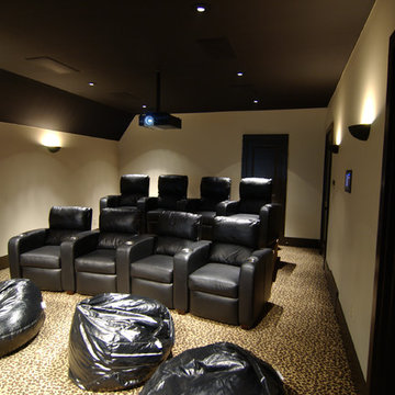 8 Seat Theater with Leopard Carpet