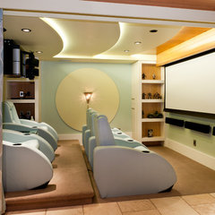 modern media room by Okanagan Dream Builders Ltd.