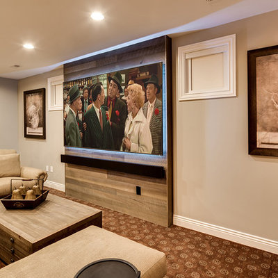 Inspiration for a huge rustic open concept carpeted home theater remodel in Baltimore with beige walls and a projector screen