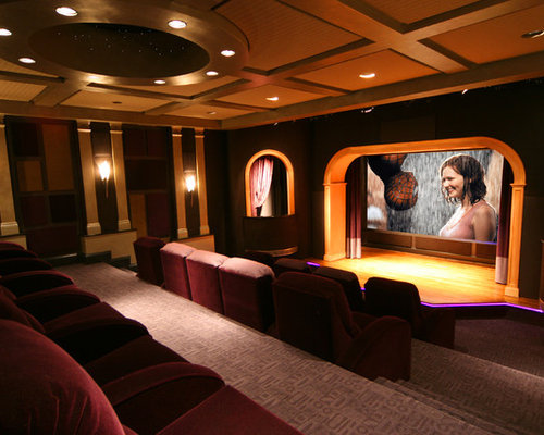 Example Of A Trendy Enclosed Home Theater Design In DC Metro