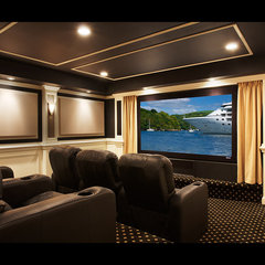 traditional media room by Encore Custom Audio Video