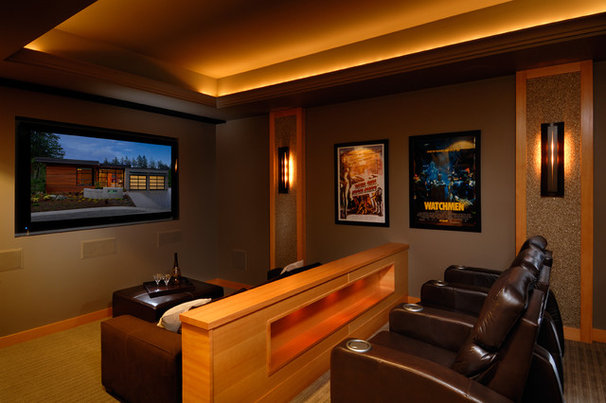 Contemporary Home Theater by Christopher Developments