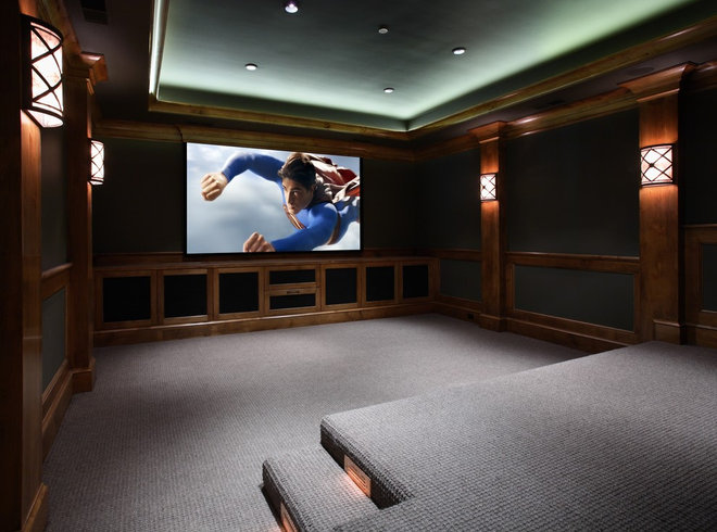 Traditional Home Theater by Markay Johnson Construction