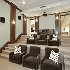 Transitional Home Theater by Clarum Homes