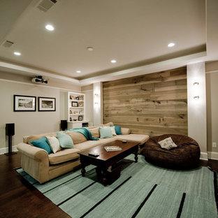 Новый формат декора квартиры: открытый домашний кинотеатр среднего размера в стиле современная классика с экраном для проектора, серыми стенами и пробковым полом