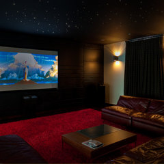 traditional media room by Tamara Bickley Design