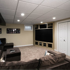 Contemporary Home Theater by Design First  Builders