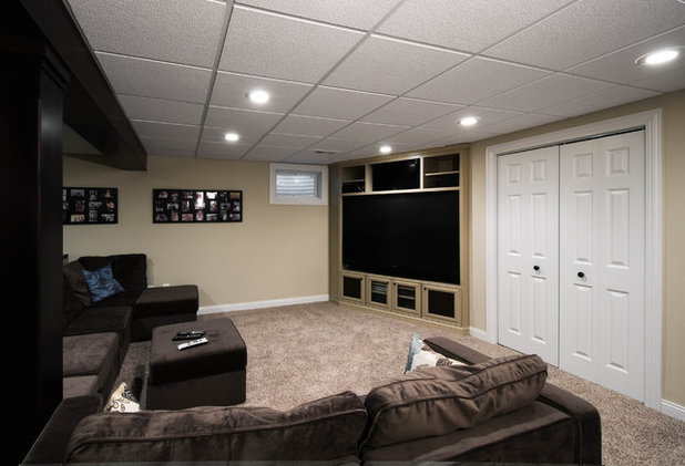 Contemporary Home Theater by DESIGNfirst  Builders