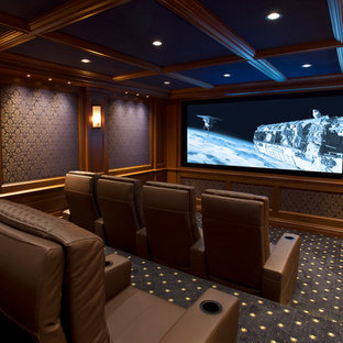Example Of A Small Classic Enclosed Carpeted Home Theater Design In New  York With Blue Walls
