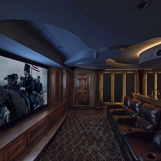 Traditional Home Theater by Walker Construction Co., Inc.