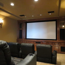 Mediterranean Home Theater by TRE architecture