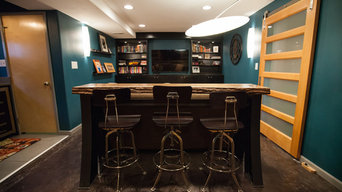 Bar with stools adds extra seating for this small room.