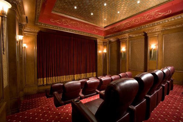 Mediterranean Home Theater by Richard Luke Architects P.C.