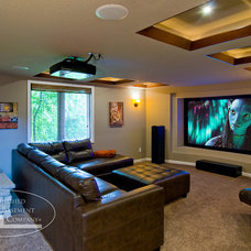 Contemporary Home Theater by Finished Basement Company