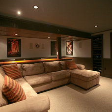 Traditional Home Theater Basement Home Theater
