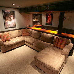 traditional media room by Backwoods Compatible