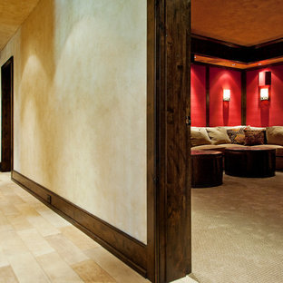 Inspiration for a rustic home theater remodel in Nashville