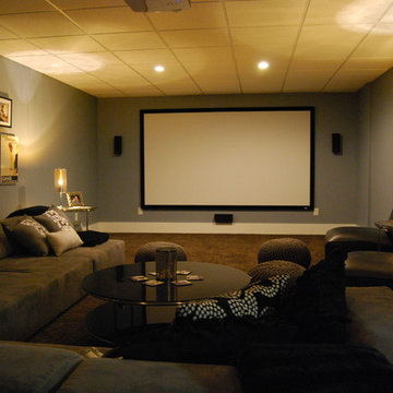 Basement media room with sectional sofa and giraffe texture carpeting
