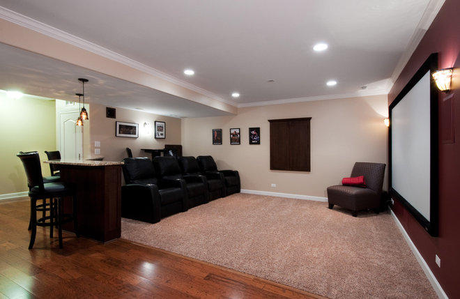 Traditional Basement by Design First  Builders