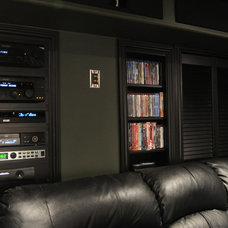 Contemporary Home Theater Basement Theater