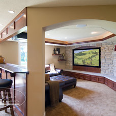 Traditional Home Theater by Finished Basement Company