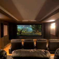 Contemporary Home Theater by Blue Line Building Co.