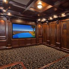 Eclectic Home Theater by Liggatt Development, Inc