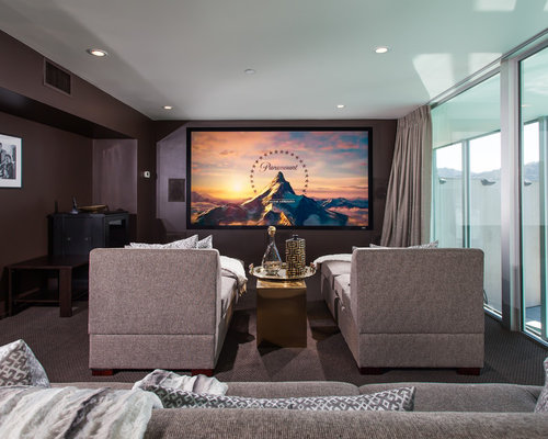Trendy enclosed carpeted and gray floor home theater photo in Orange County  with gray walls and. Contemporary Home Theater Ideas   Design Photos   Houzz