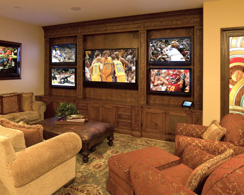 Man Cave With Multiple Tvs : Man cave tv wall home design ideas pictures remodel and