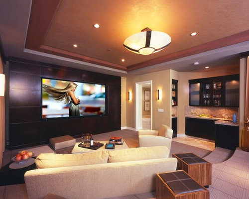 contemporary enclosed home theater idea in los angeles with a built in media wall