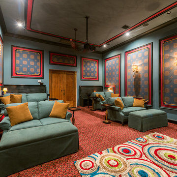 Blue & Red Media Room with Stadium Seating