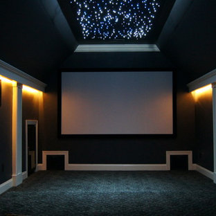 Inspiration for a mid-sized modern enclosed home theatre in Other with grey walls, carpet and a projector screen.
