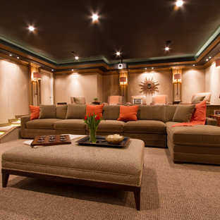 Inspiration for a transitional home theater remodel in DC Metro