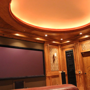 Mountain style home theater photo in Salt Lake City