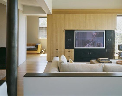 modern media room by Buttrick Wong Architects