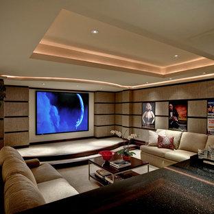Modelo de cine en casa cerrado, clásico renovado, con moqueta