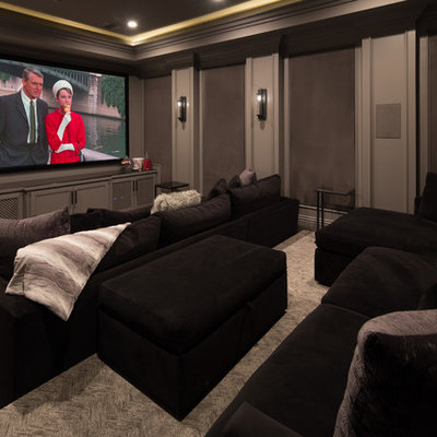 Inspiration for a coastal enclosed carpeted and gray floor home theater remodel in Los Angeles with gray walls and a projector screen