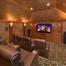 Mediterranean Home Theater by Gary Keith Jackson Design Inc