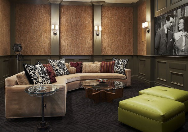 Mediterranean Home Theater by CDA Interior Design