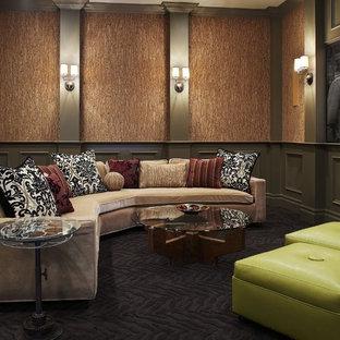 Tuscan home theater photo in Dallas