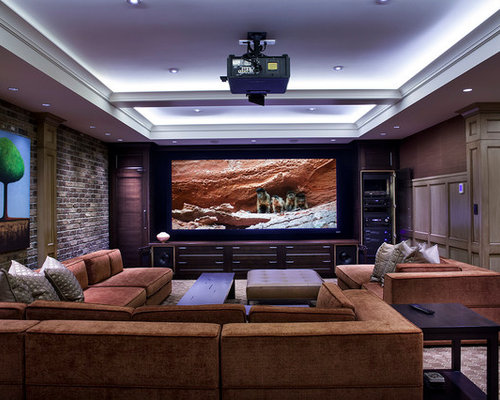 Inspiration For A Transitional Home Theater Remodel In Vancouver With A  Projector Screen Part 44