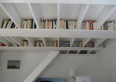 Eclectic Home Theater Ceiling bookshelf