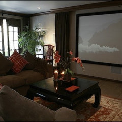 traditional media room by Charmean Neithart Interiors, LLC.