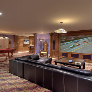 This is an example of a traditional home theatre in Toronto with purple walls and multi-coloured floor.