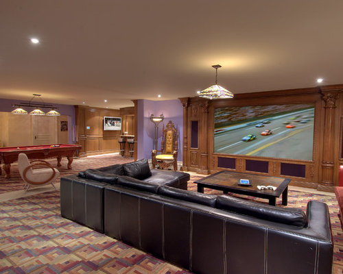 Home Theater   Traditional Multicolored Floor Home Theater Idea In Toronto  With Purple Walls