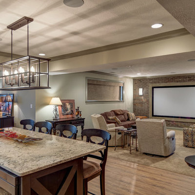 Large elegant open concept carpeted and beige floor home theater photo in Indianapolis with beige walls and a projector screen